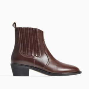 BRAND NEW IN BOX ZARA BROWN COWBOY ANKLE BOOTIE